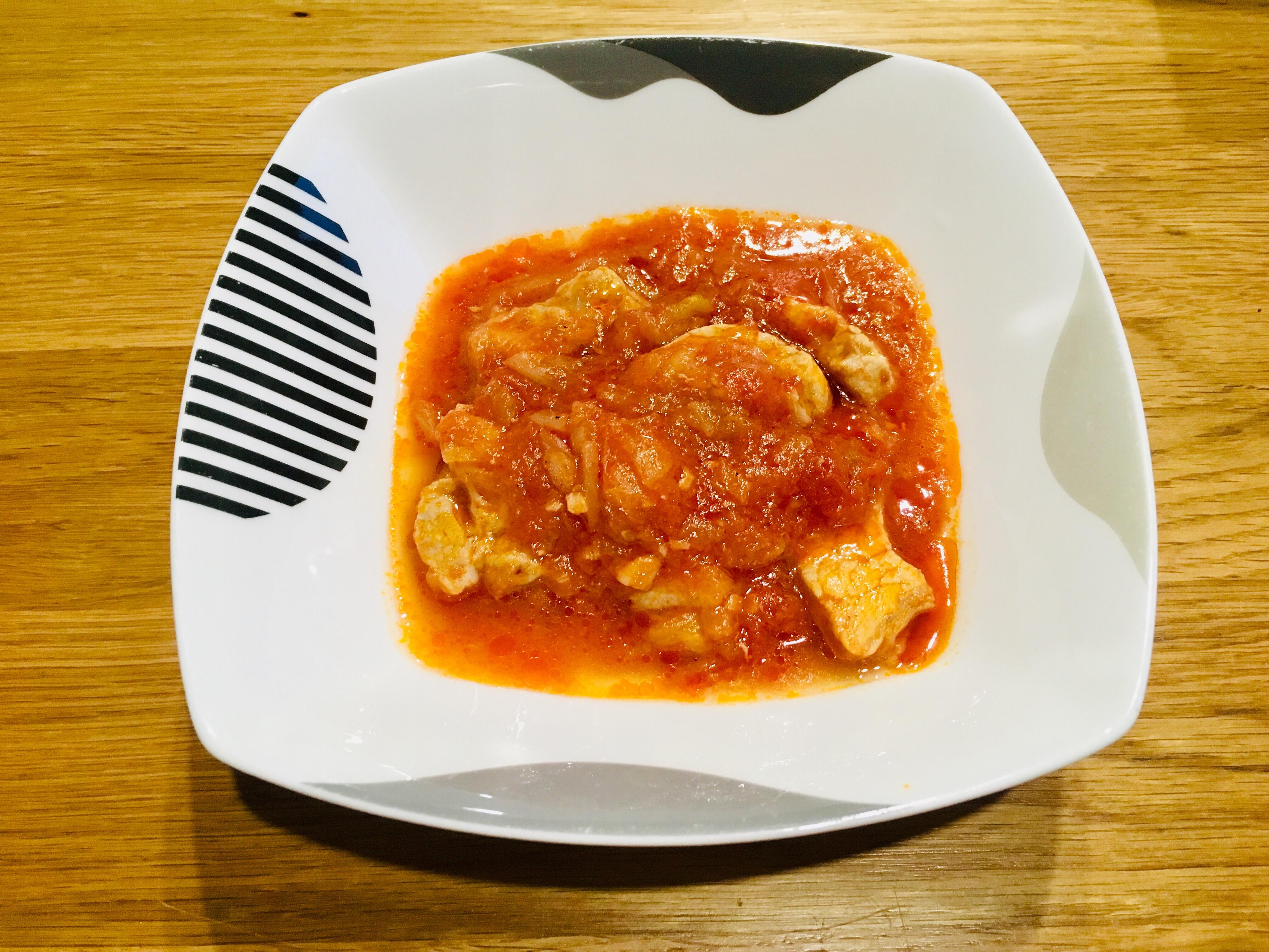ホットクックで豚肉のトマト煮込み完成