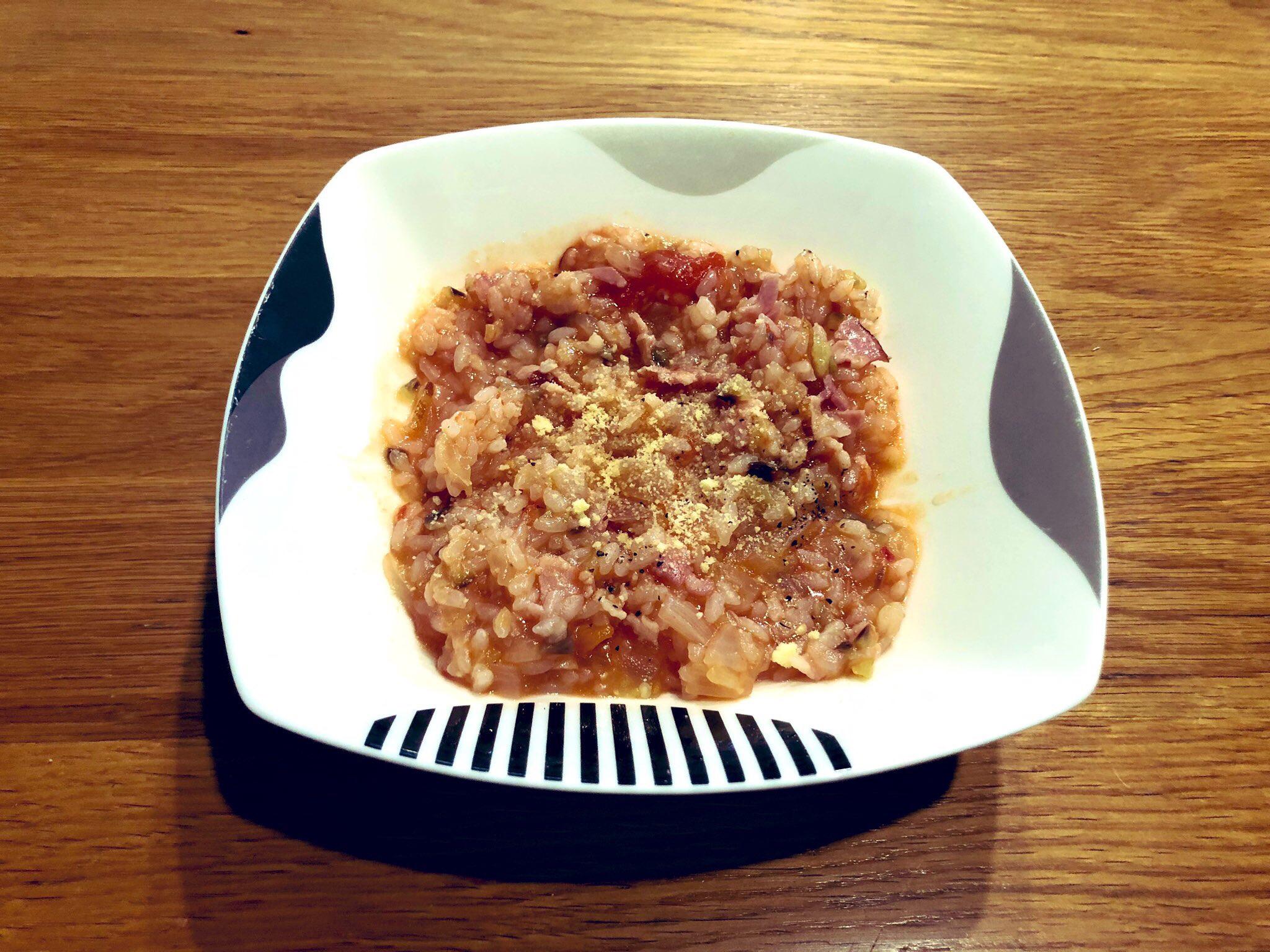ホットクックで米から炊くトマトリゾット完成