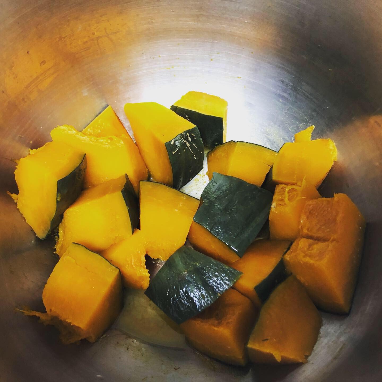 ホットクックで蒸しかぼちゃ加熱後