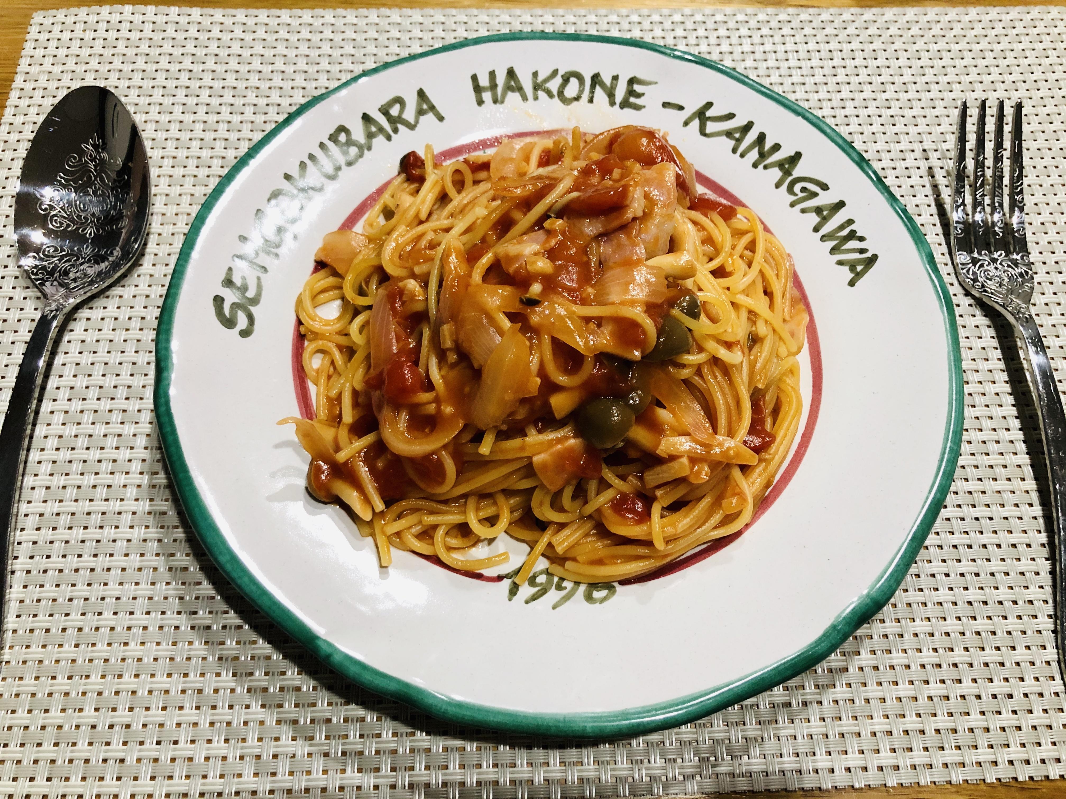 ホットクックでパスタごと煮るトマトパスタ完成
